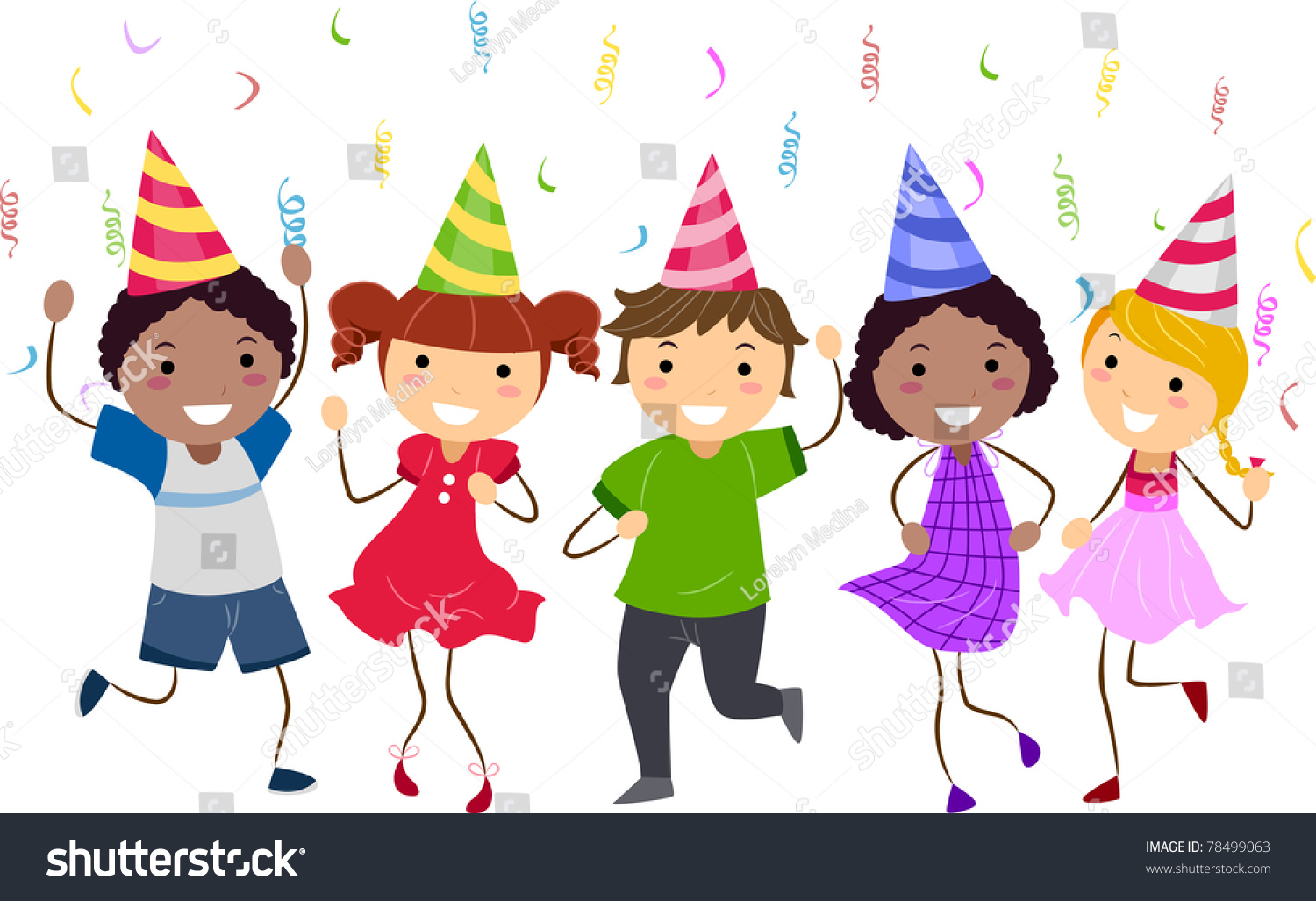 illustration of kids having a dance party 78499063