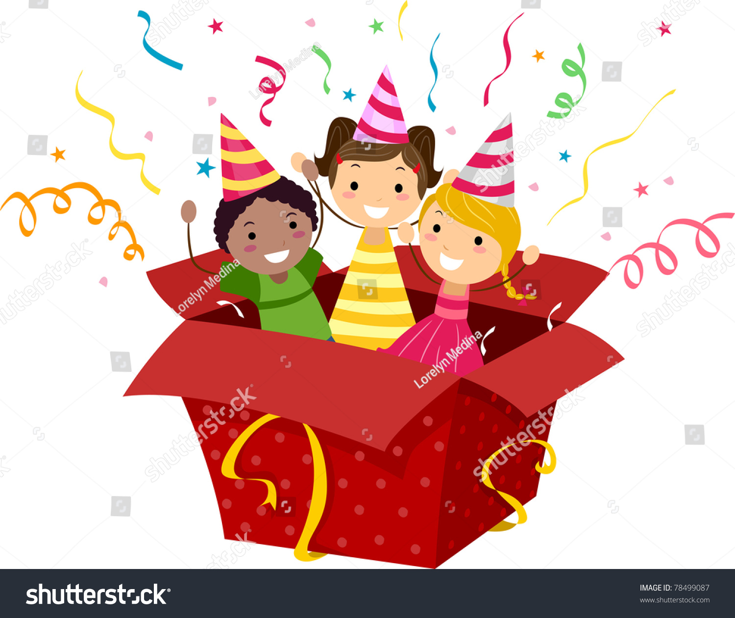 Illustration Of Kids Popping Out Of A Gift Box 78499087