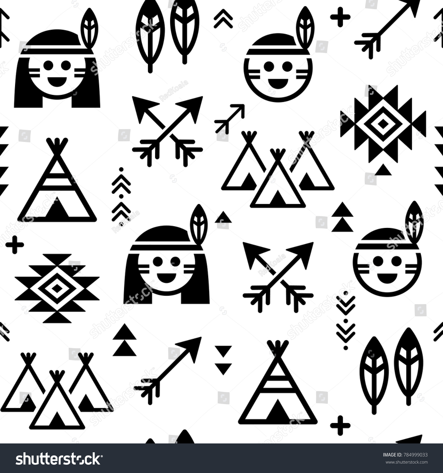 Indian vector seamless pattern boys girls stock vector 784999033 indian vector seamless pattern for boys and girls native american background with teepee and arrows biocorpaavc