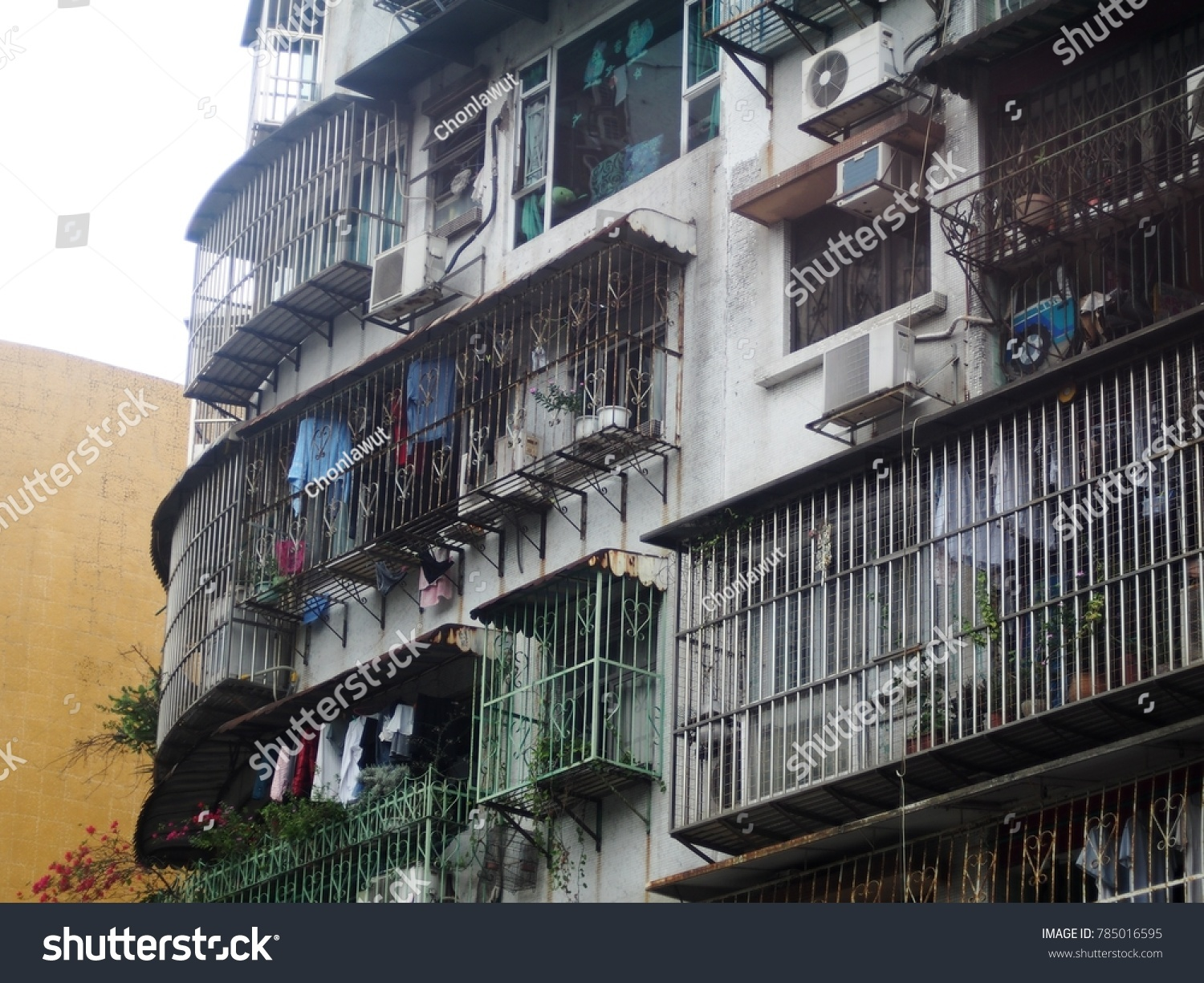 Poor Man Resident High Old Grunge Rustic Apartment Building Small Rooms  Unsafe Life Protection With Danger