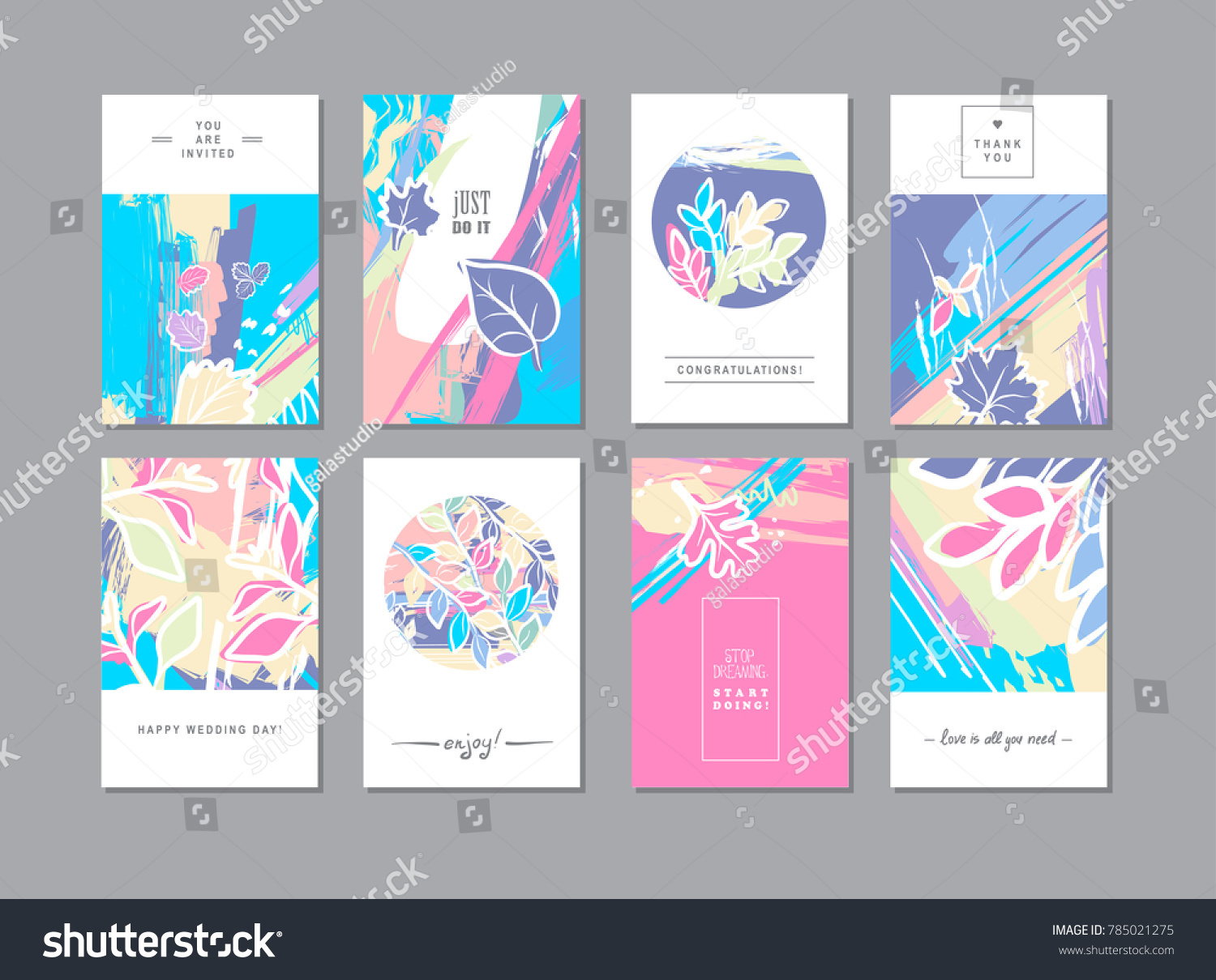 Set Creative Universal Floral Cards Trendy Stock Vector Royalty