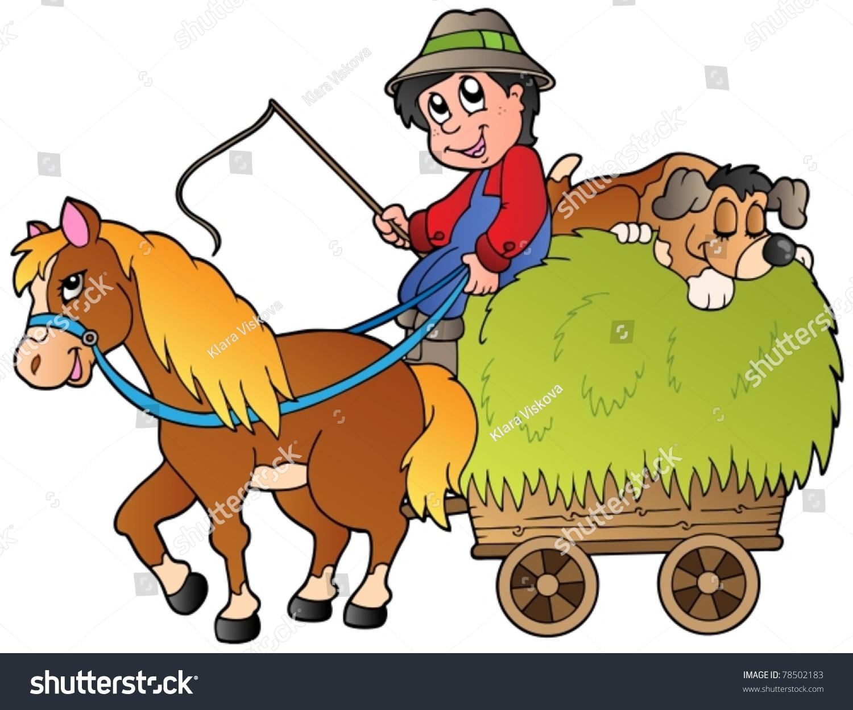 Hay Cart Cartoon Farmer Vector Illustration Stock Vector 78502183 ...