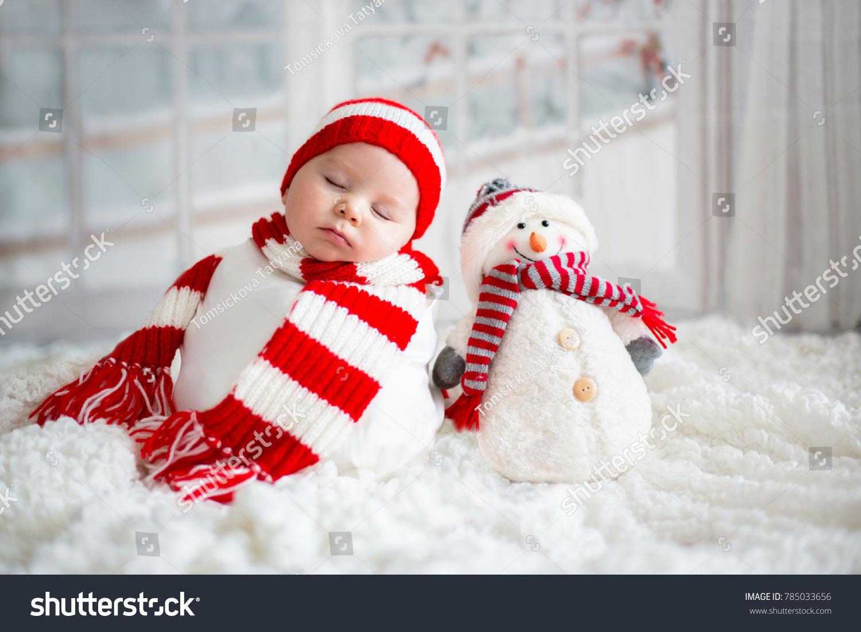 Christmas Portrait Cute Little Newborn Baby Stock Photo (Edit Now ...