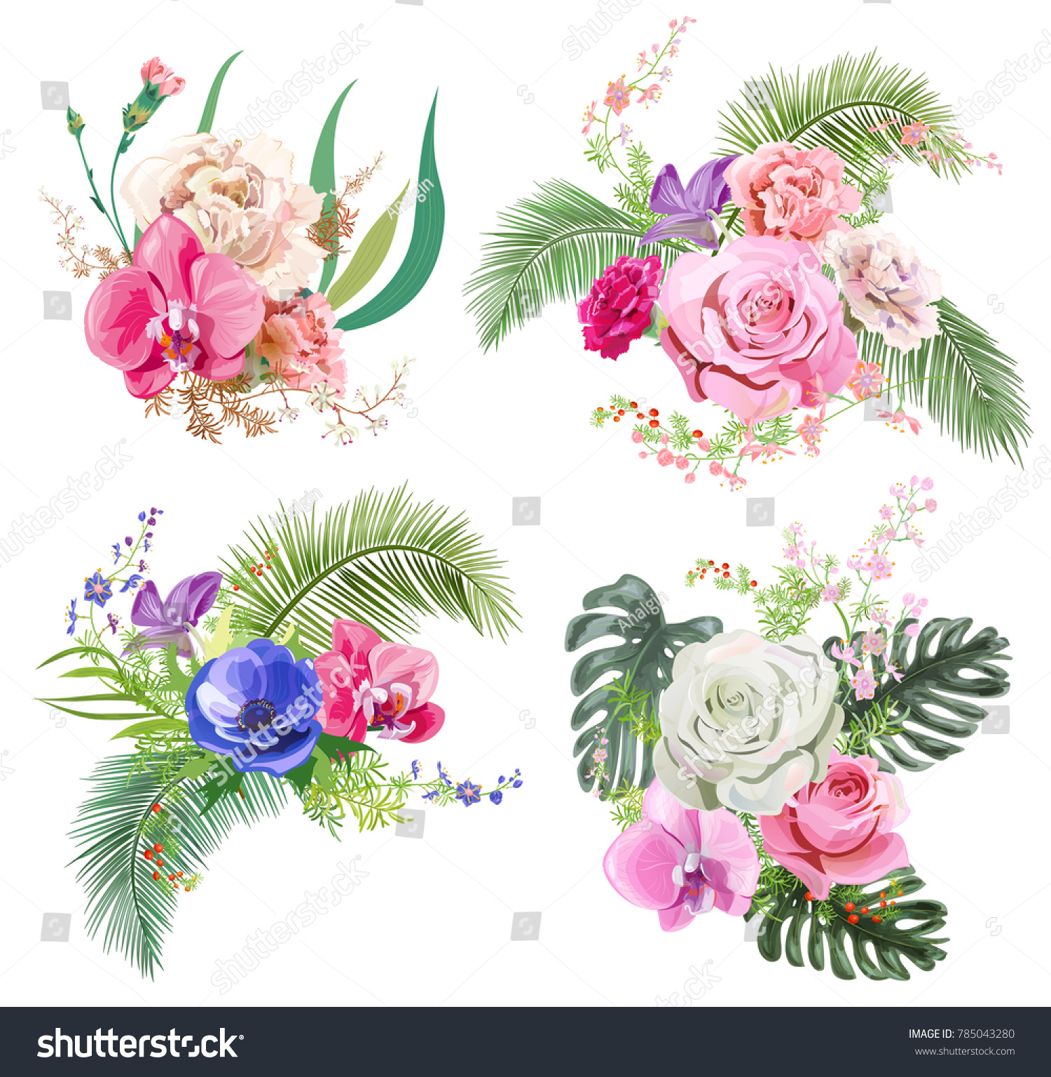 Collection Bouquets Of Tropical Flowers Pink Rose Red Carnation Purple Orchid Blue