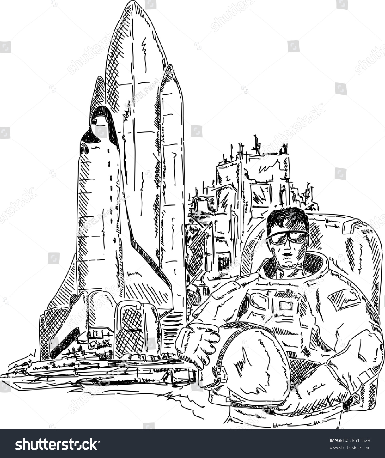 vector spaceman space shuttle hand draw stock vector 78511528