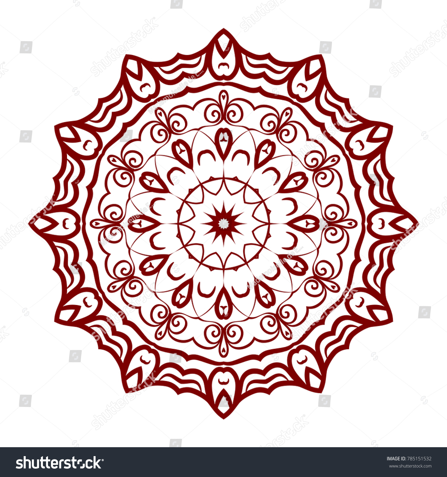 Abstract Flower Design Mandala Decorative Round Stock Vector HD ...