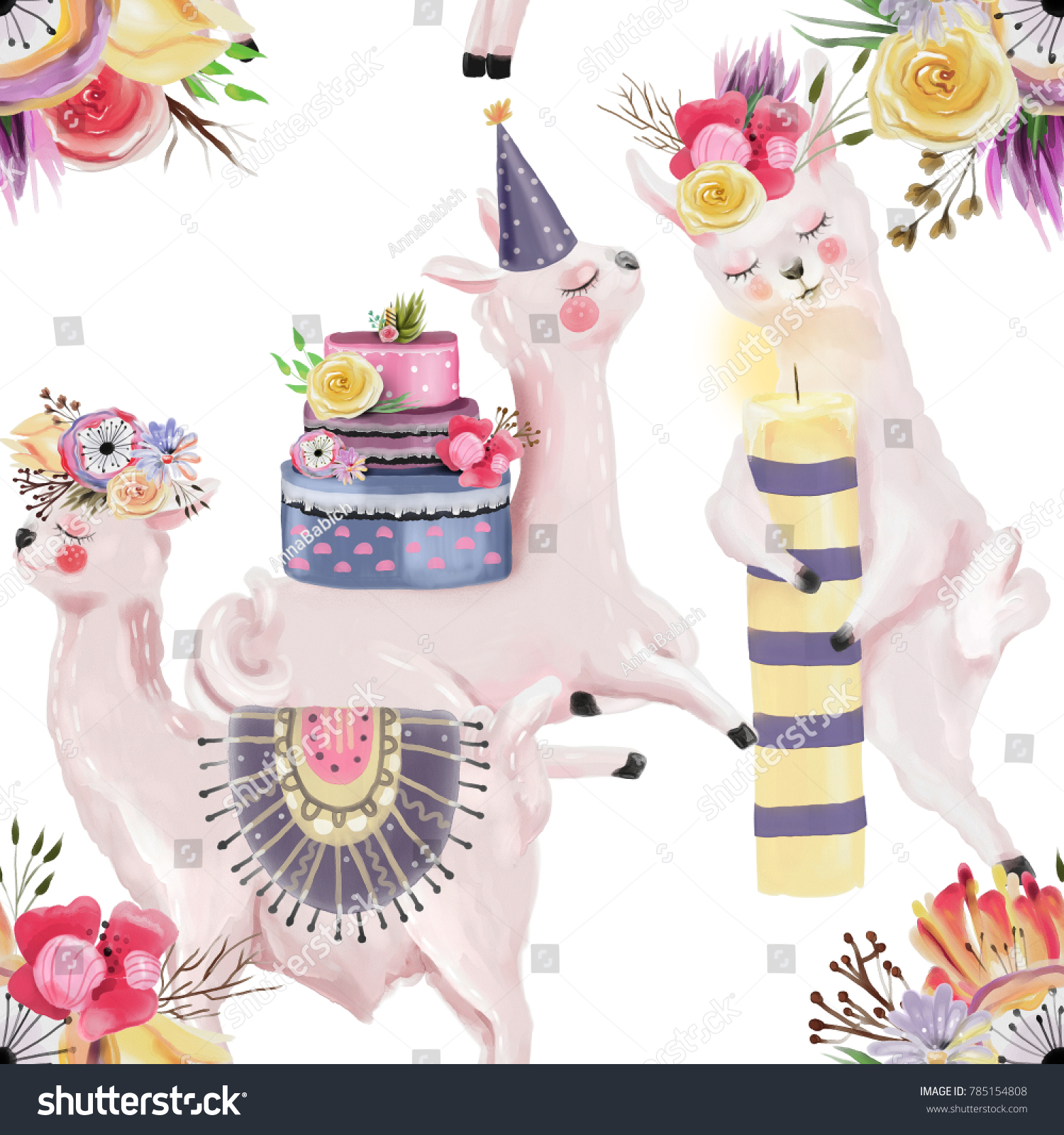 Cute Watercolor Llamas Alpacas With Birthday Cake Hat Candle And Flower Wreaths Seamless