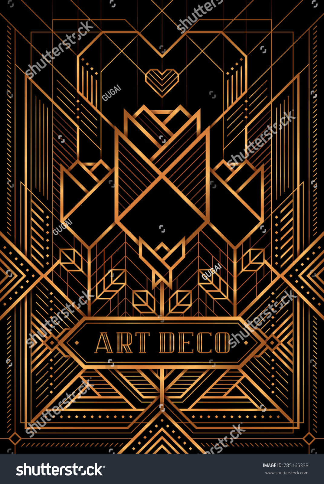 Great Gatsby Deco Style Vector Golden Stock Vector Royalty Free