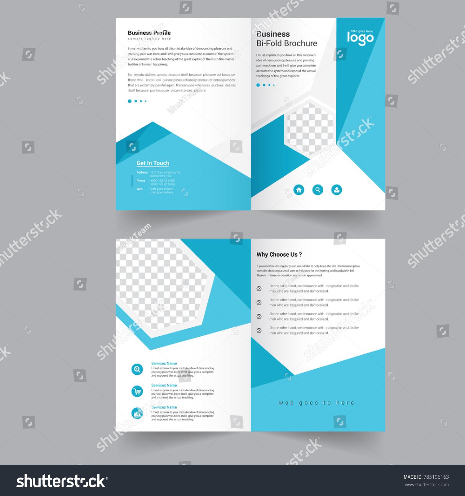 Blue Bi Fold Vector Brochure Template Design
