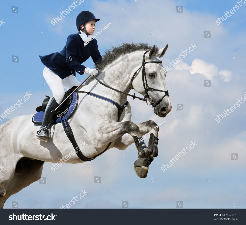 Young Girl Jumping Dapplegrey Horse Stock Photo 78520423