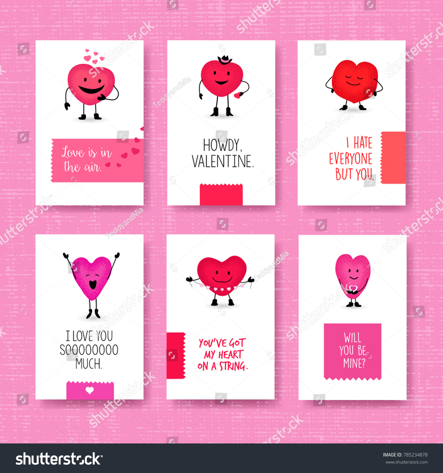 set valentines day cards cute heart stock vector royalty free