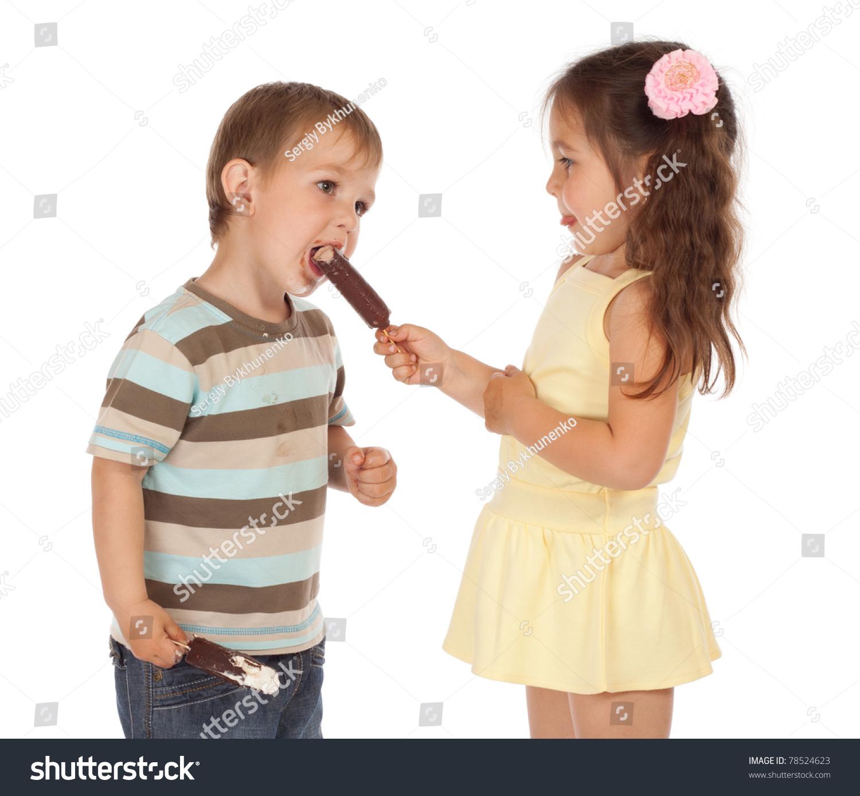 Little Boy Eating Girls Chocolate Ice Cream