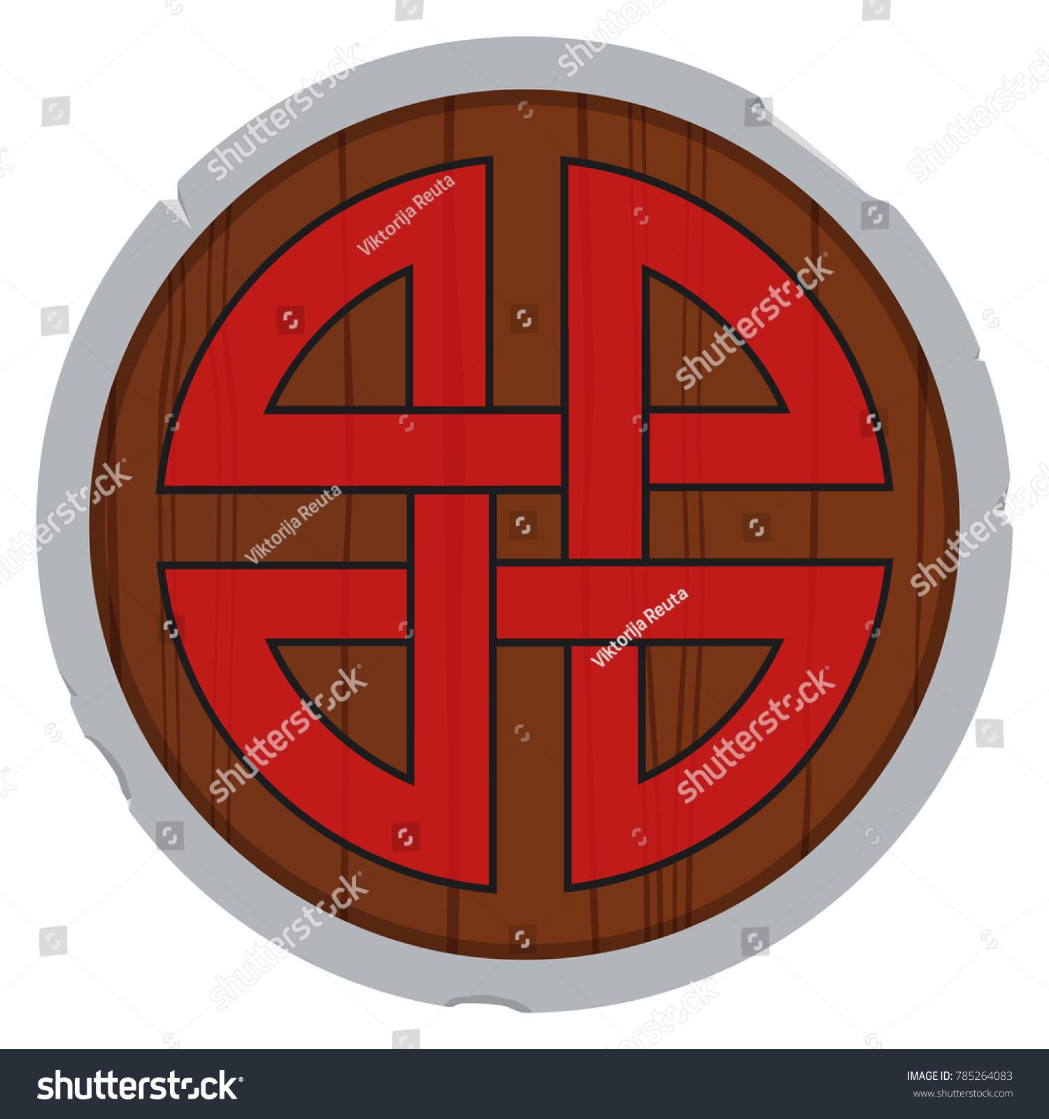 Vector Illustration Wooden Viking Shield Shield Stock Vector
