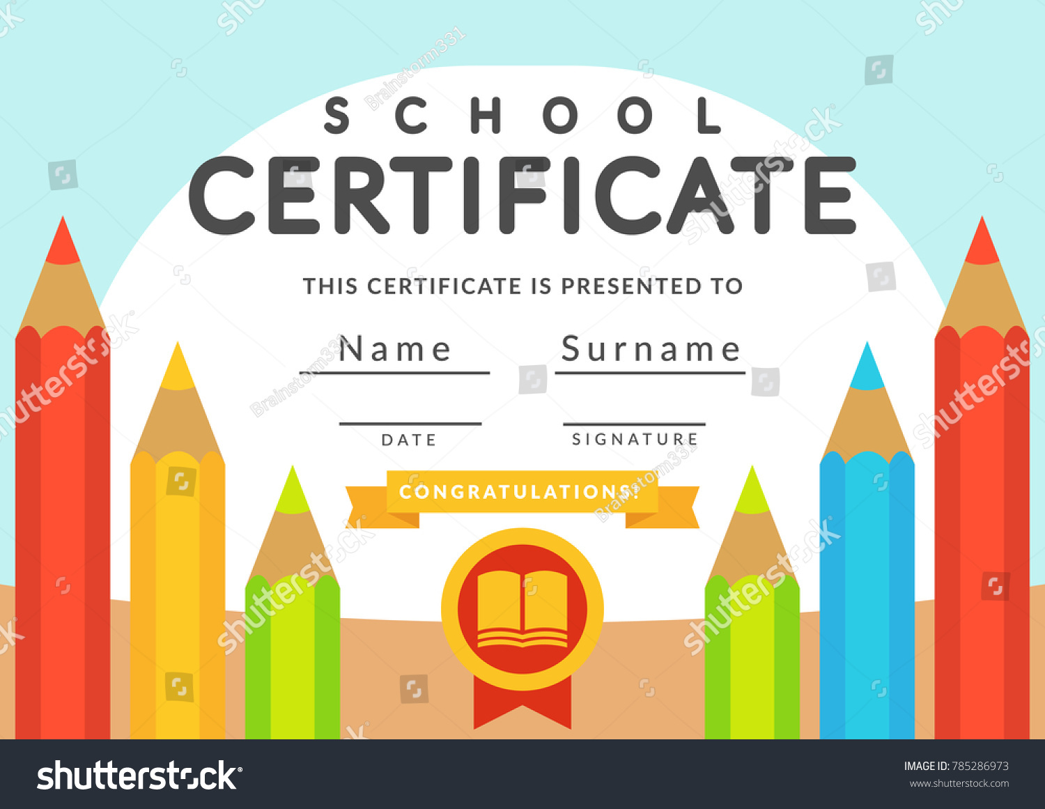 School Certificate Template Kids Kindergarten Students Vector de ...