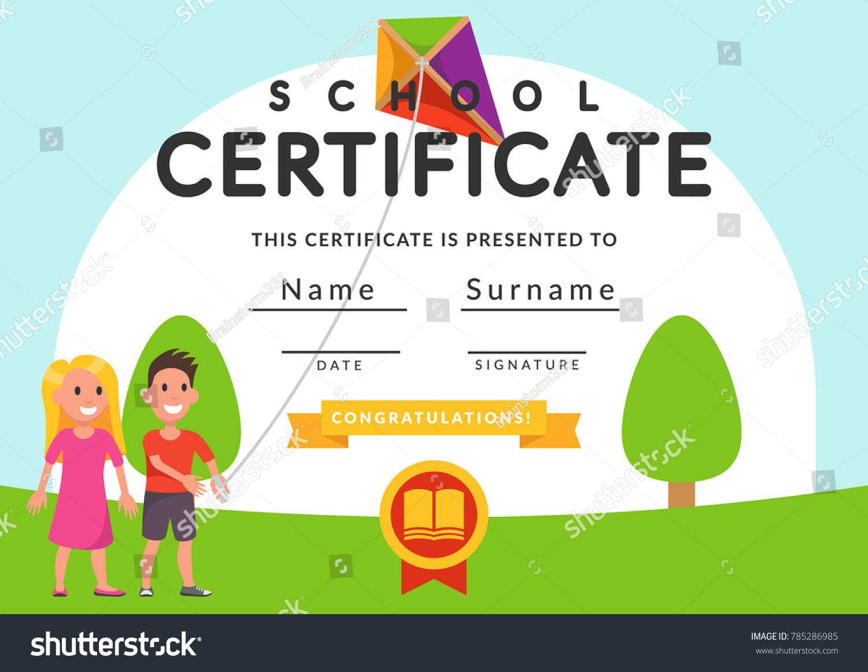 School Certificate Template Kids Kindergarten Students Stock Vector