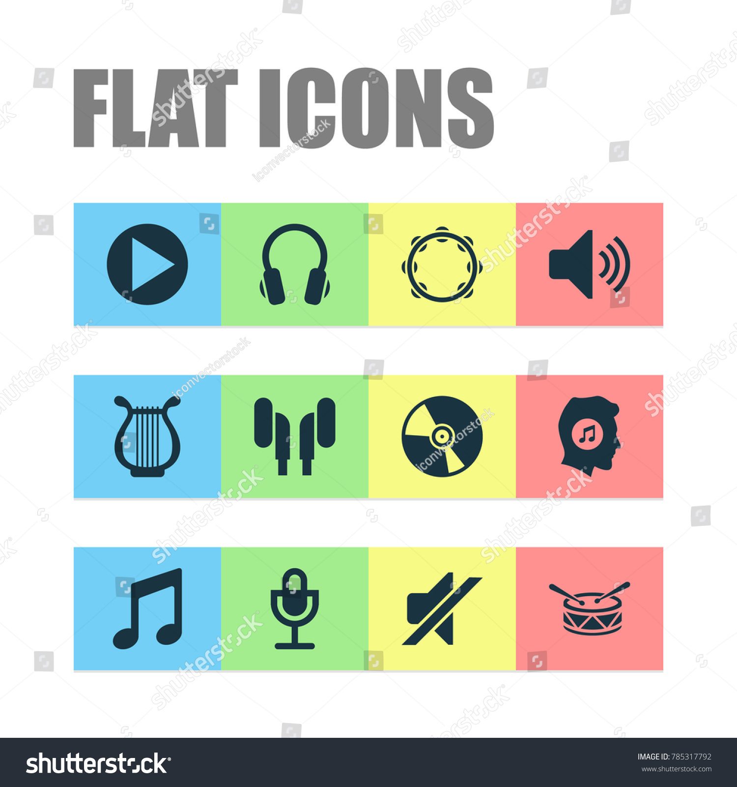 Audio icons set earphone music lyre stock vector 785317792 audio icons set with earphone music lyre and other silence elements isolated vector biocorpaavc Image collections