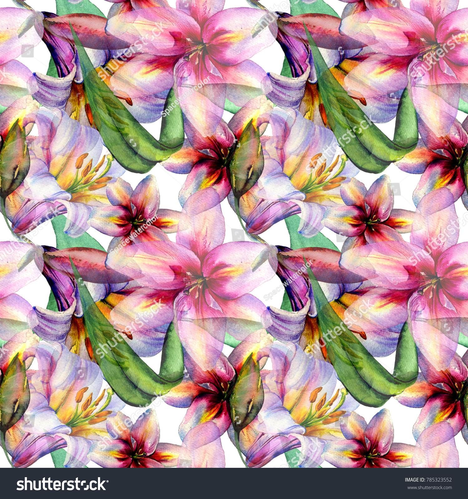 Watercolor Wild Lily Flowers Pattern Ez Canvas