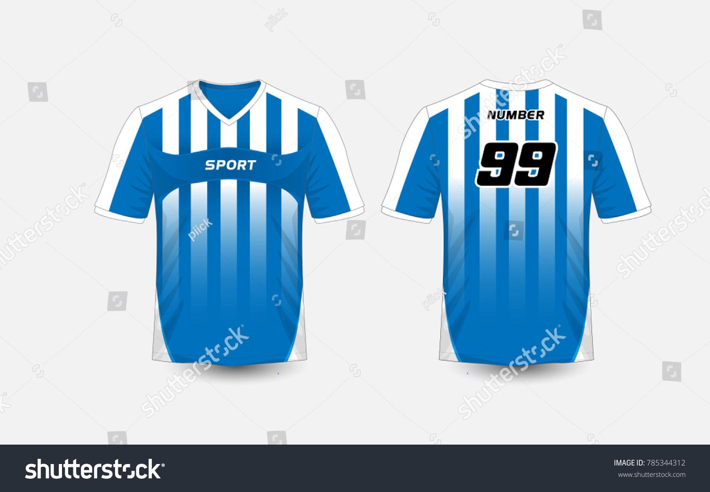 fa741401 Blue and White stripe pattern sport football kits, jersey, t-shirt design  template