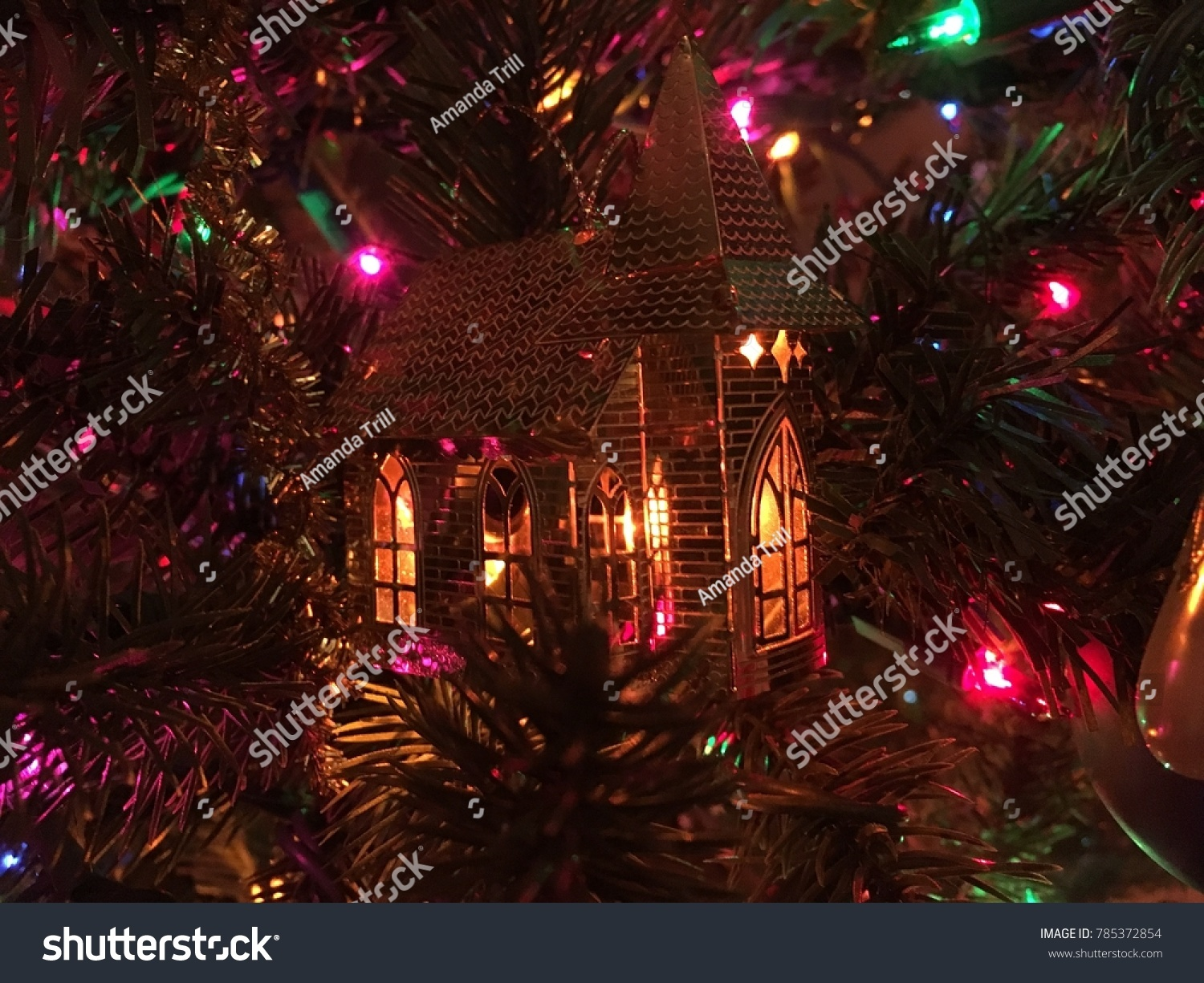 Beautiful lights on the holiday of Christmas and New Year, bokeh in ...