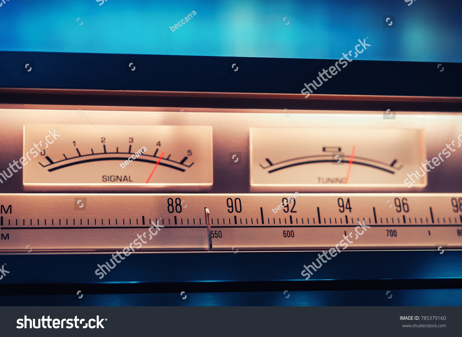 Vintage Amplifier Tuner Scale Vu Meters Stock Photo Edit Now Meter For Power Amplifiers With Closeup Shot