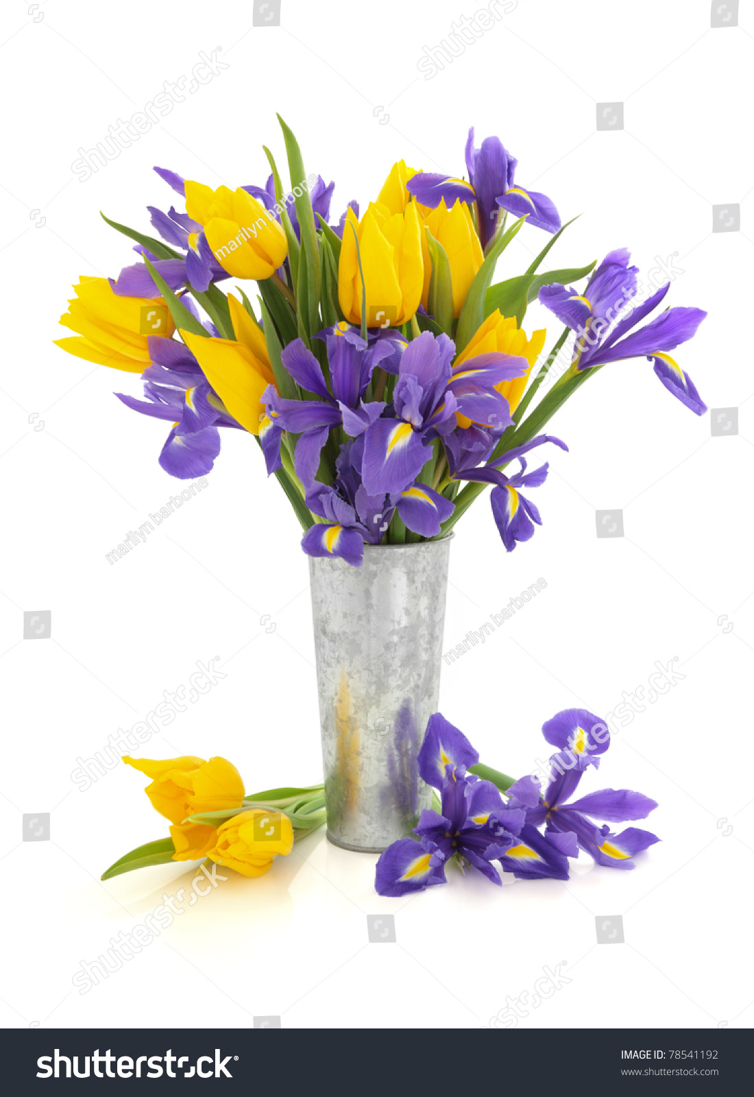 Purple Iris Yellow Tulip Flower Arrangement Stock Photo Safe To Use