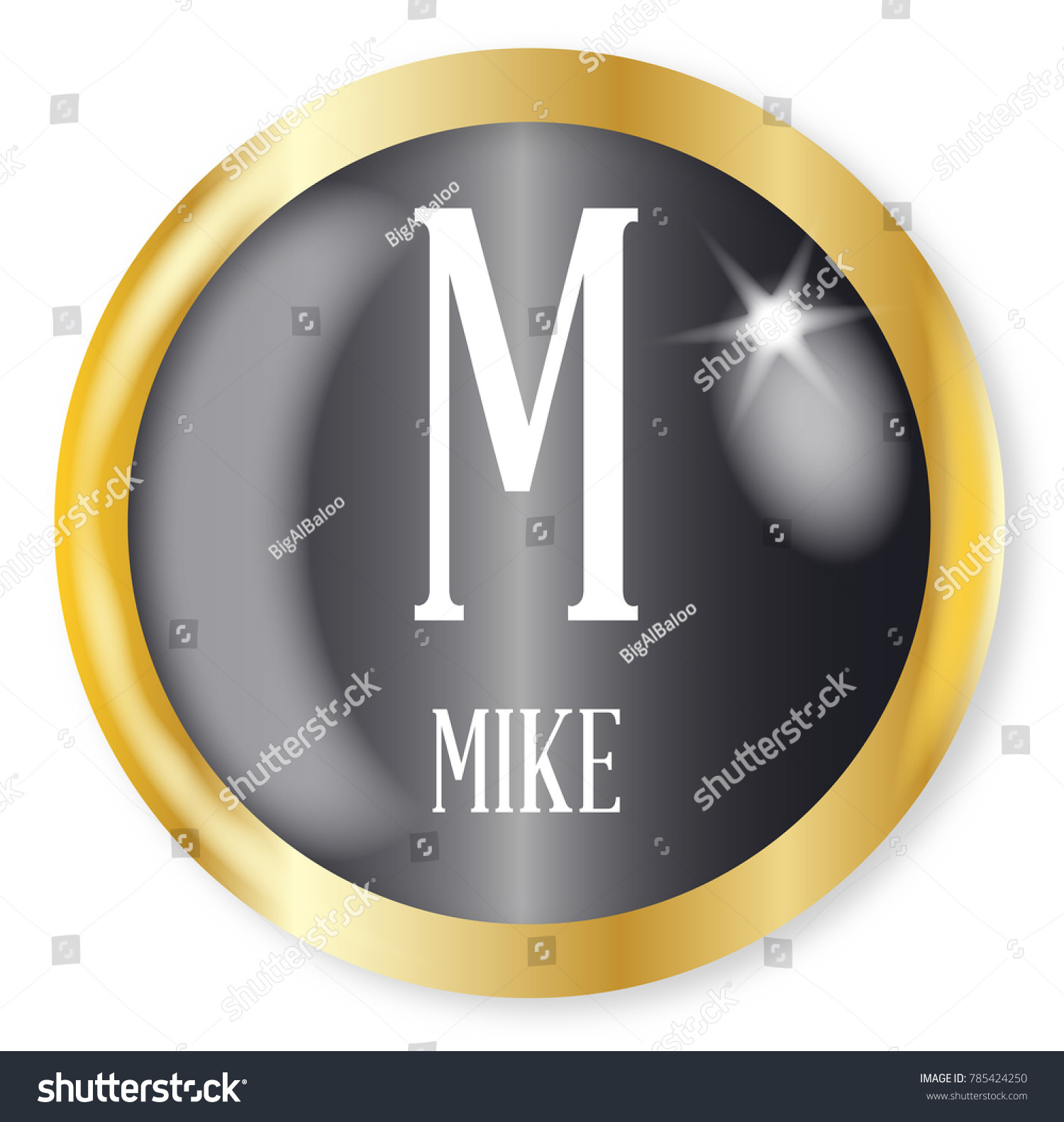 M Mike Button Nato Phonetic Alphabet Stock Illustration 785424250