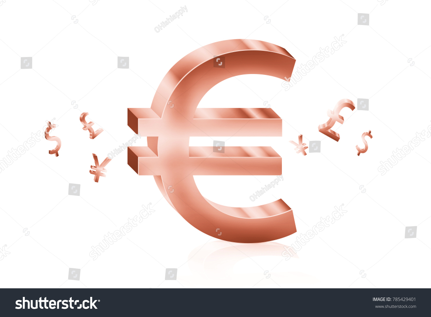 Rose gold metal euro currency symbols stock illustration 785429401 rose gold metal of euro currency symbols forex trading concept buycottarizona