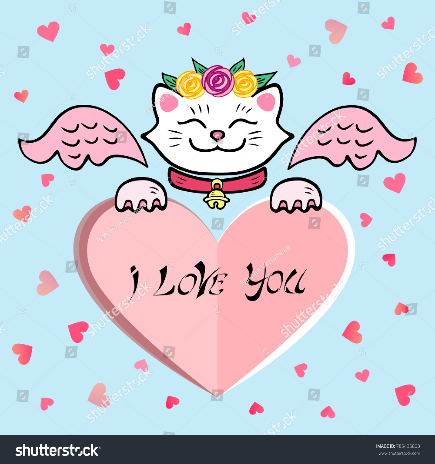 Cute Love You Card White Cat Stock Vector Royalty Free 785435803