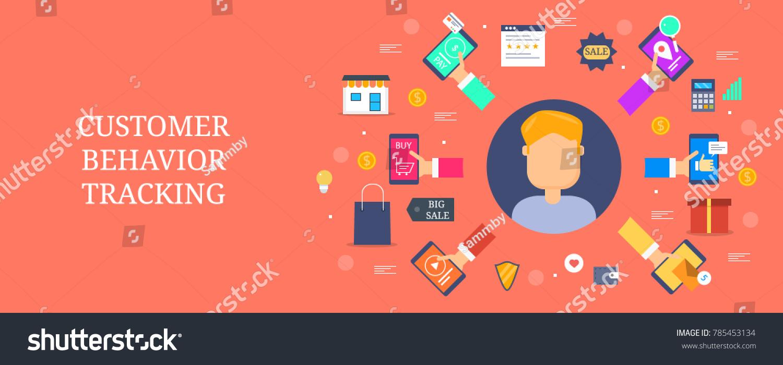 customer behavior tracking online customers marketing stock vector