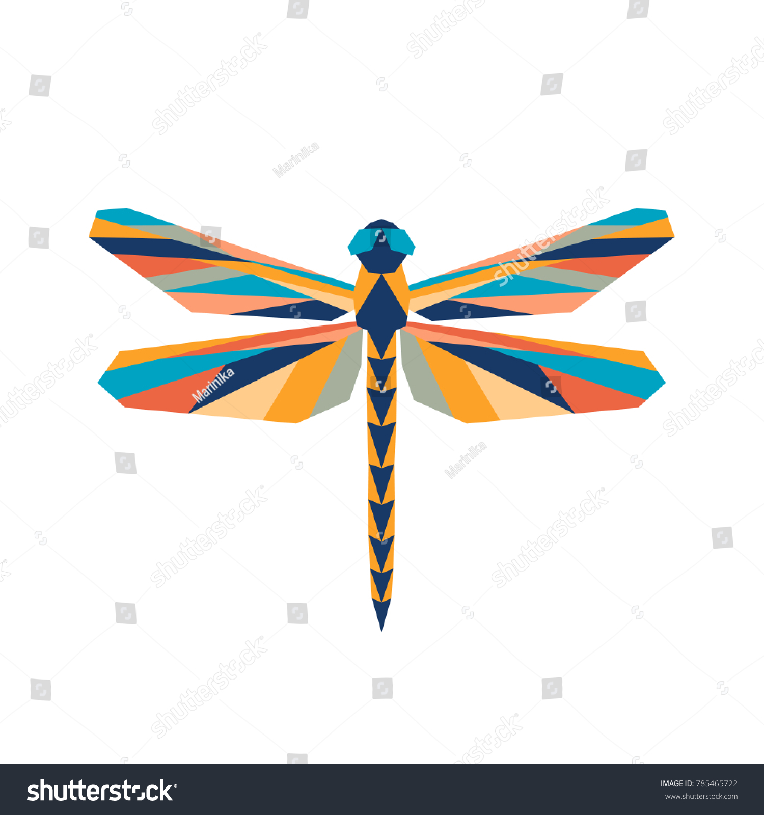 Abstract polygon dragonfly vector geometric colorful stock vector abstract polygon dragonfly vector the geometric colorful symbol of a insect biocorpaavc