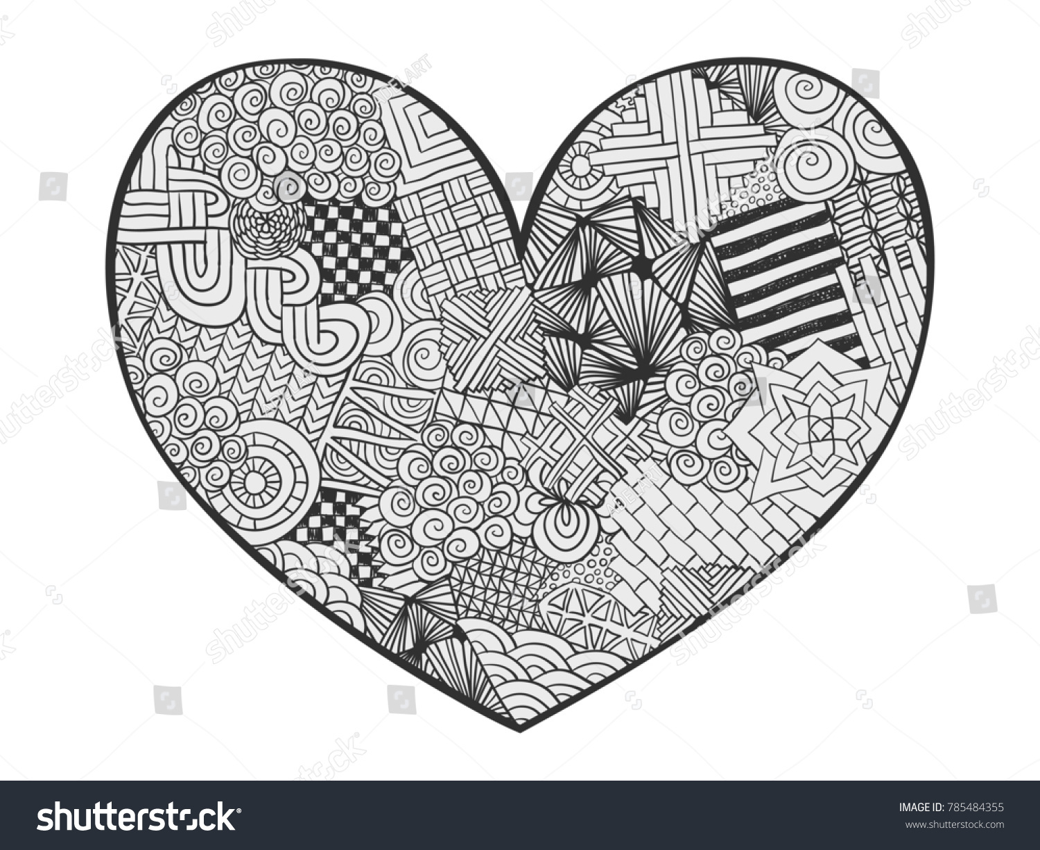 Heart Doodle Coloring Page Zentangle Abstract Stock Illustration ...