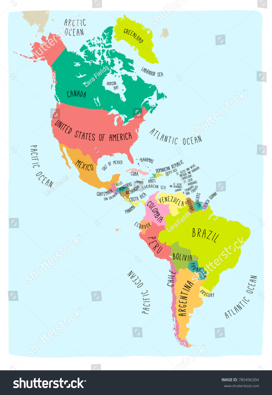 Hand Drawn Vector Map Americas Colorful Stock Vector (Royalty Free ...