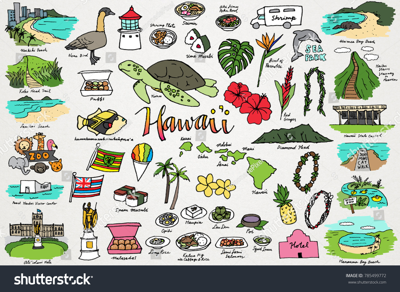 Hawaii tropical island clipart set hawaiian stock vector 785499772 hawaii tropical island clipart set hawaiian flowers beaches plants nature izmirmasajfo