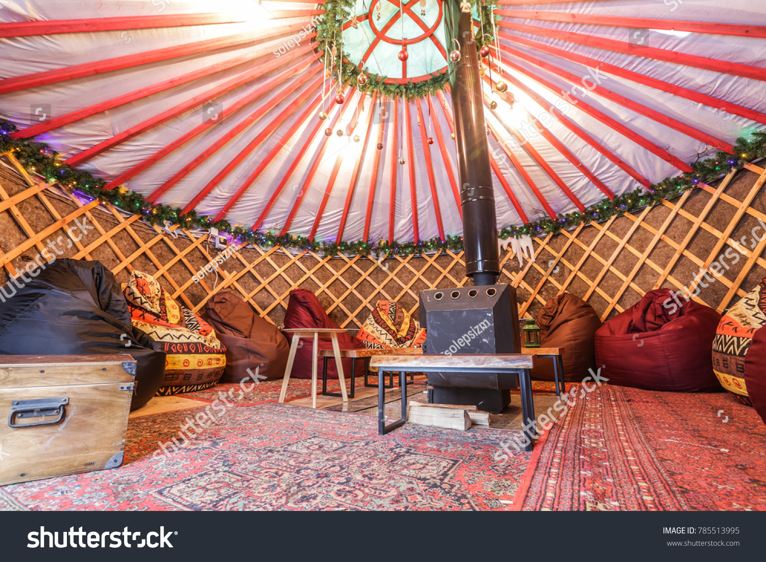 Traditional Yurt Interior Glamping Fire Place Stock Photo