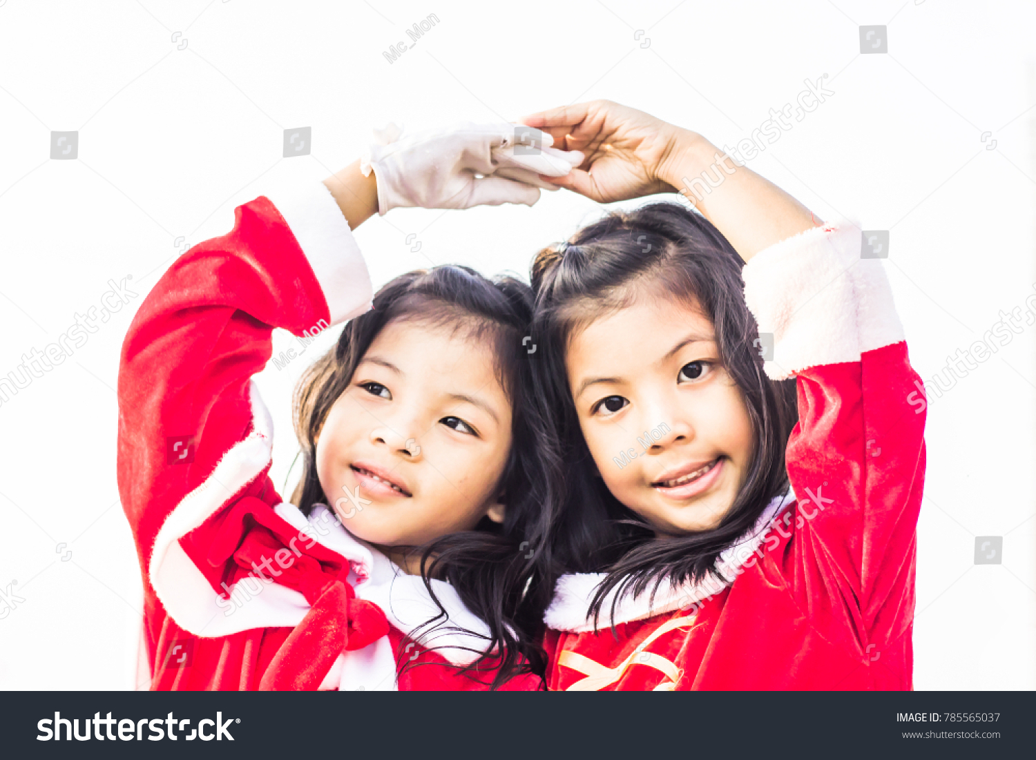 Happiness Twins Girls Doing Heart Act Stock Photo Edit Now