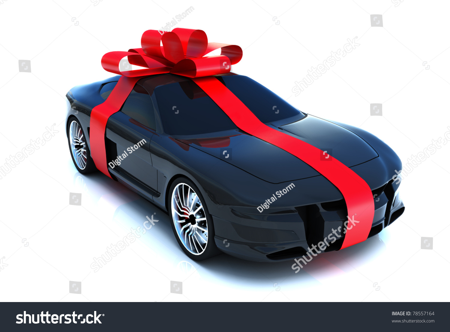 Expensive Car For Sale Or Gift Royalty Free Stock Image: Big Gift Sports Car Bow Isolated Stock Illustration