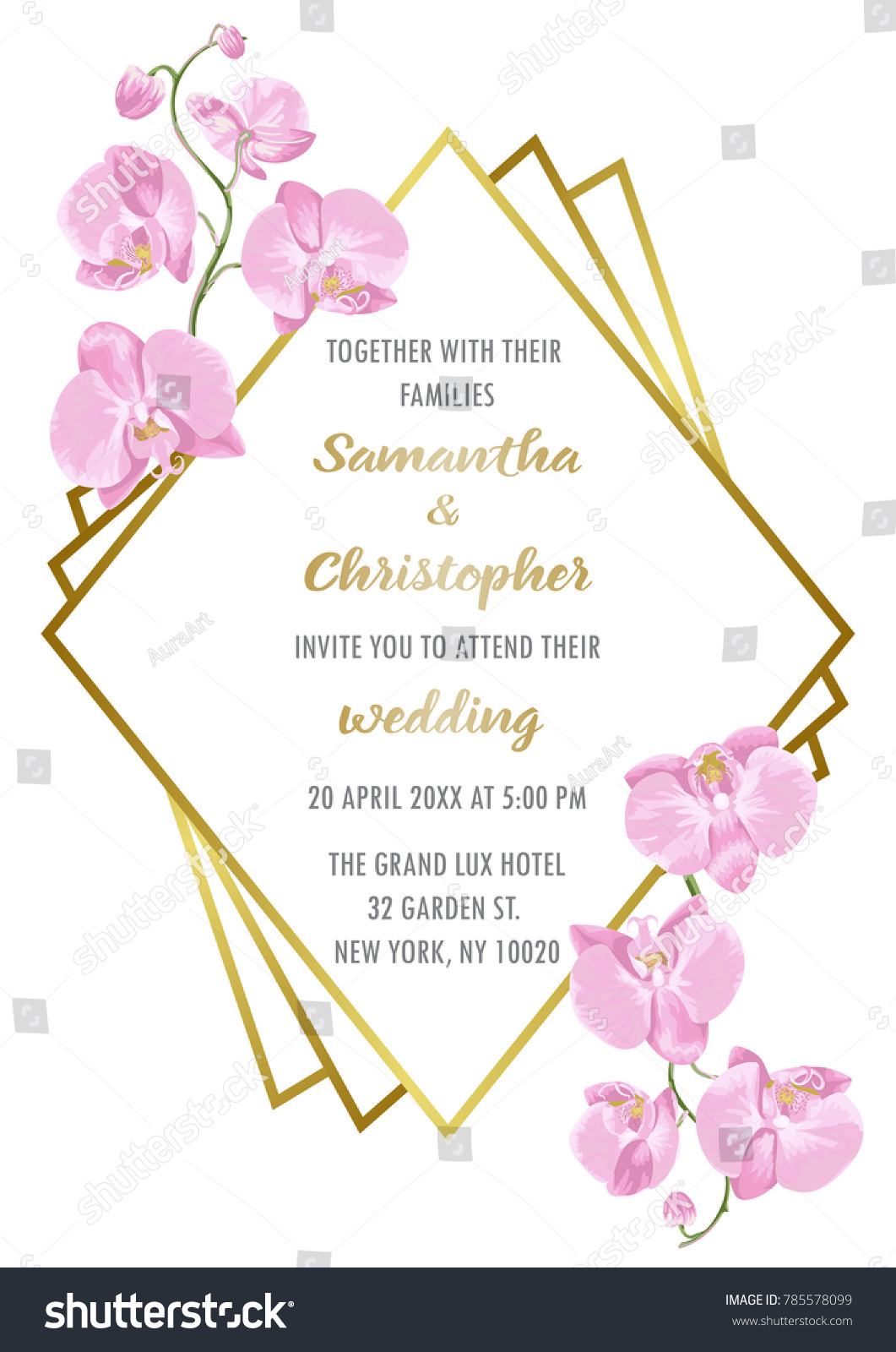 Wedding Invitation Floral Card Gold Geometric Stock Vector (Royalty ...