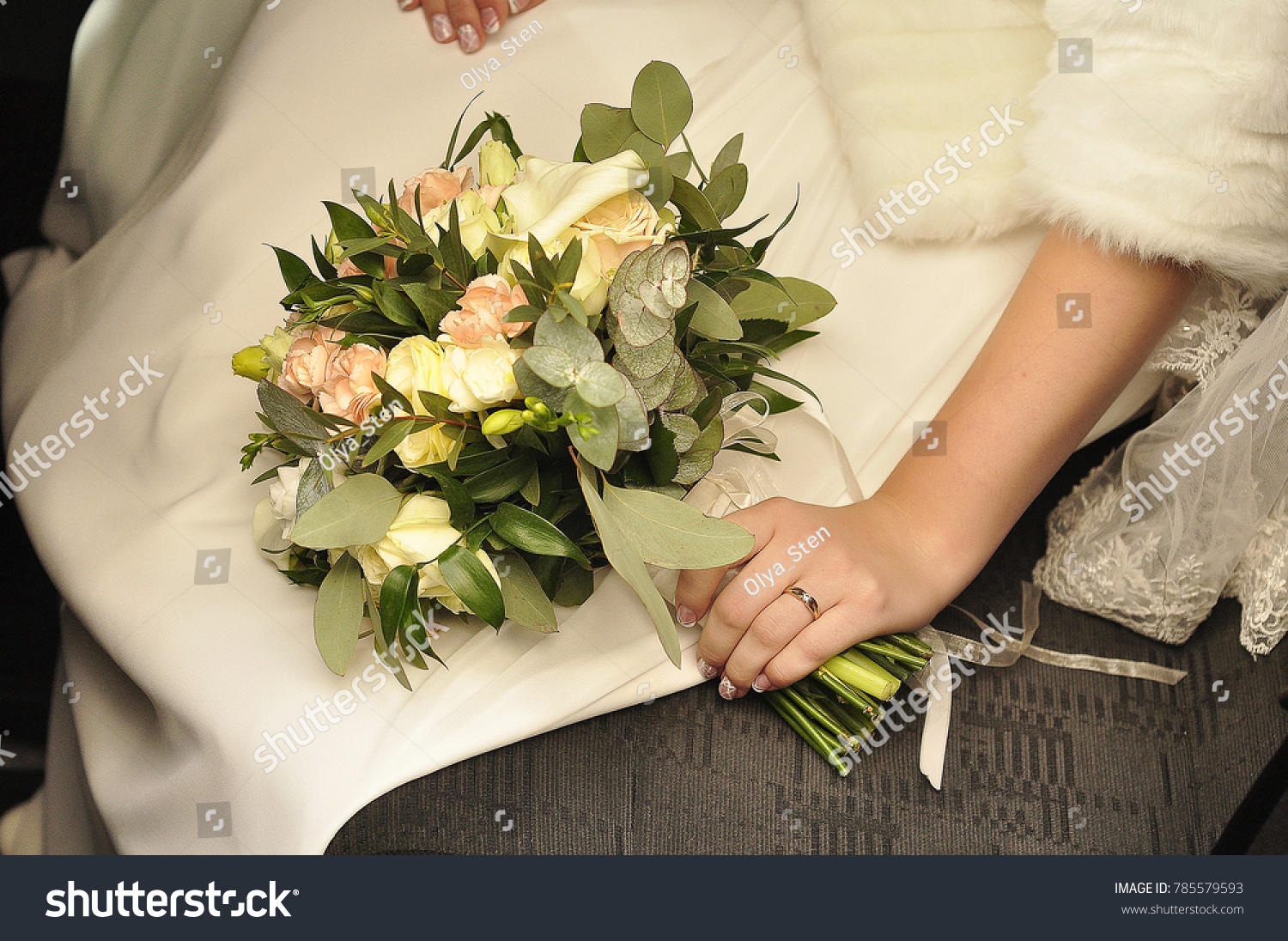 Bride Holding Wedding Bouquet Flowers Roses Stock Photo Edit Now ...