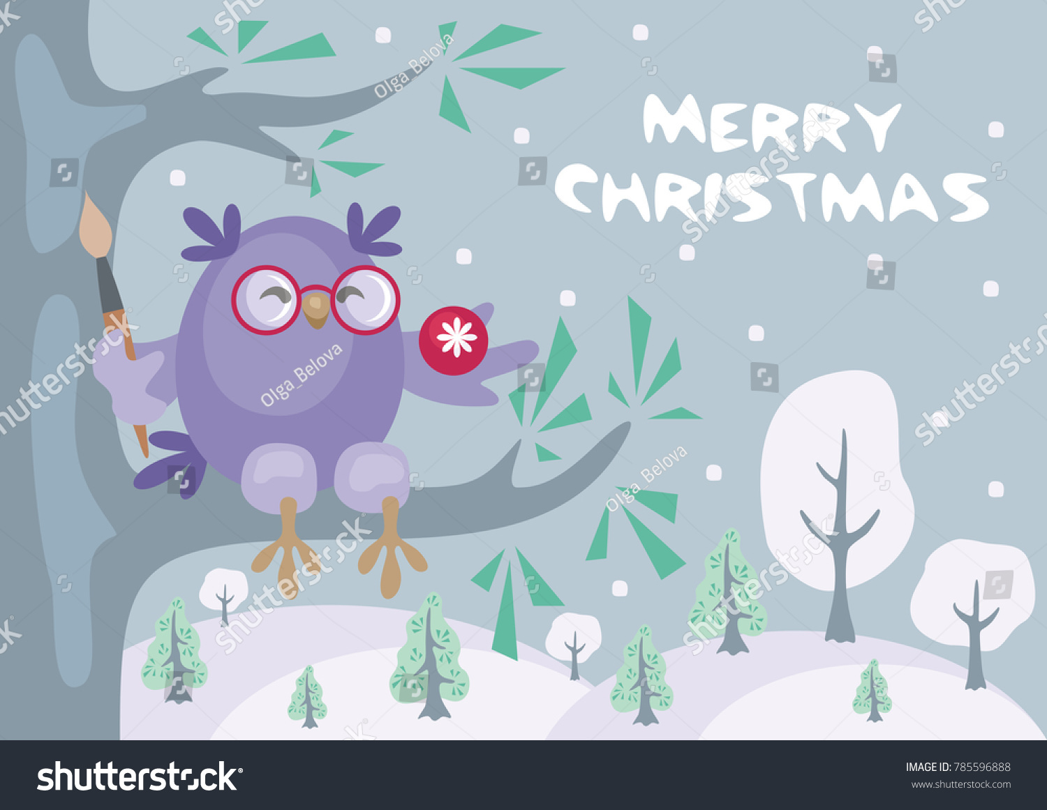 Christmas Greeting Card Image Funny Owls Stock Vector Royalty Free