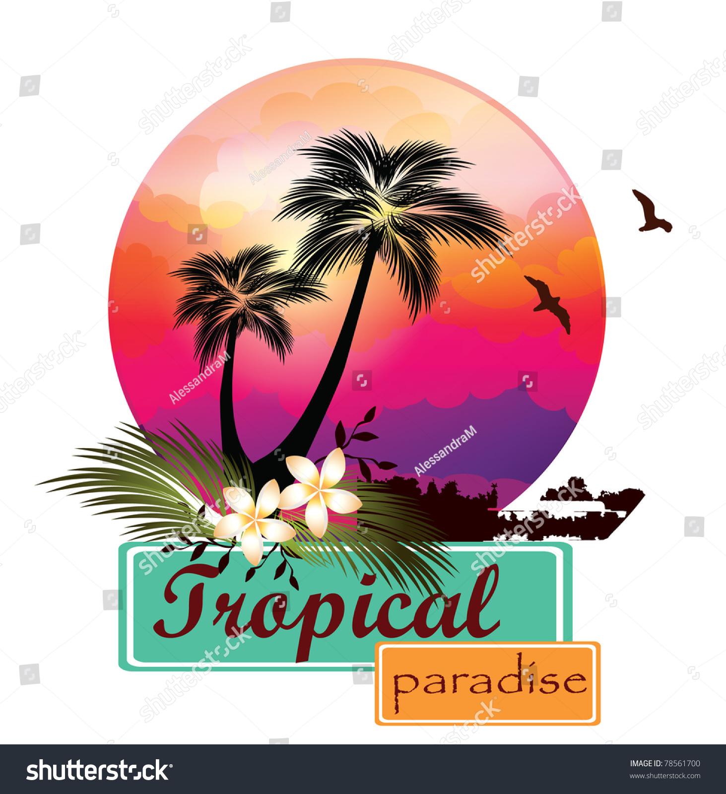 Tropical Beach Sunset Stock Vector Illustration 78561700