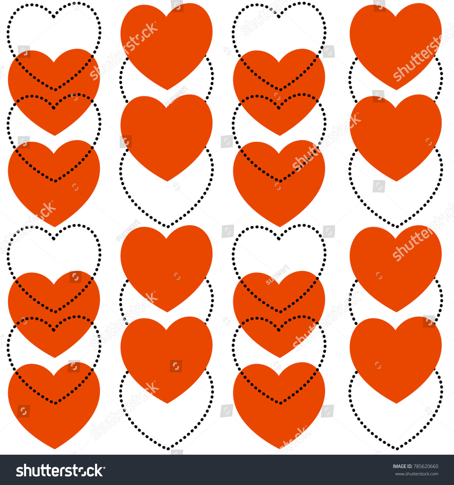 Vector seamless heart pattern love symbol stock vector 785620660 vector seamless heart pattern love symbol graphic background red and black doted line hearts buycottarizona Images