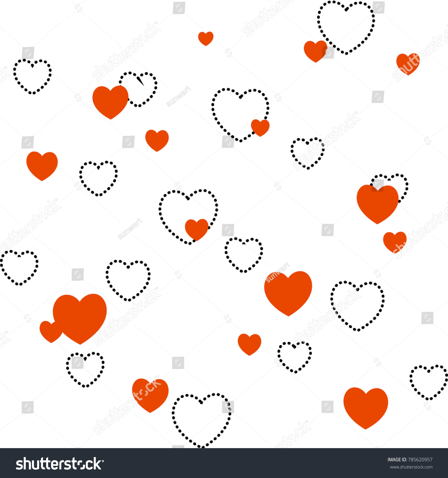 Vector seamless heart pattern love symbol stock vector 785620957 vector seamless heart pattern love symbol graphic background red and black doted line hearts buycottarizona Images