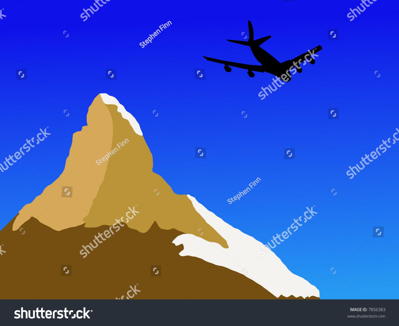 four engine plane flying past matterhorn stock vector 7856383
