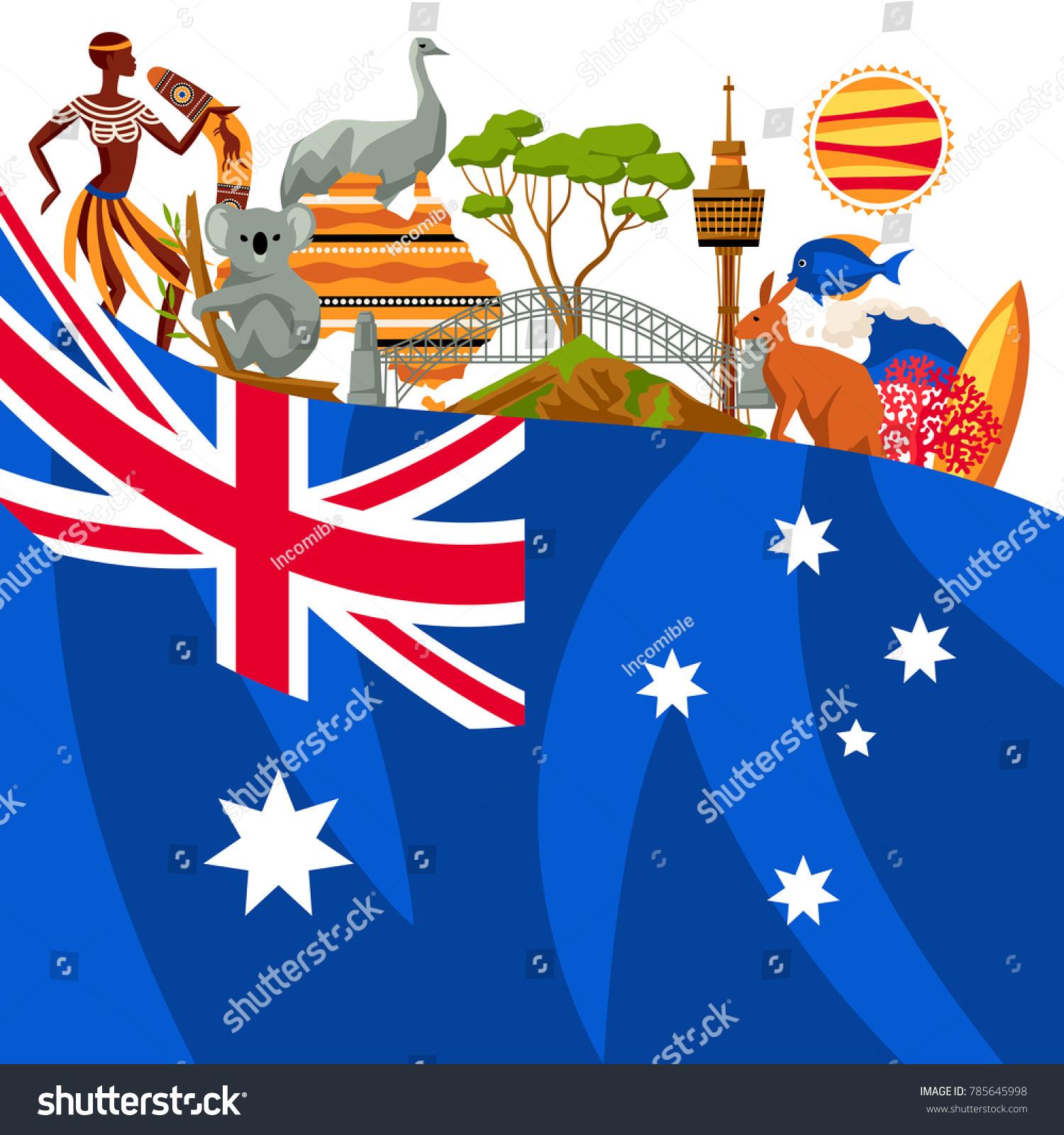Australia background design australian traditional symbols stock australia background design australian traditional symbols and objects biocorpaavc Choice Image
