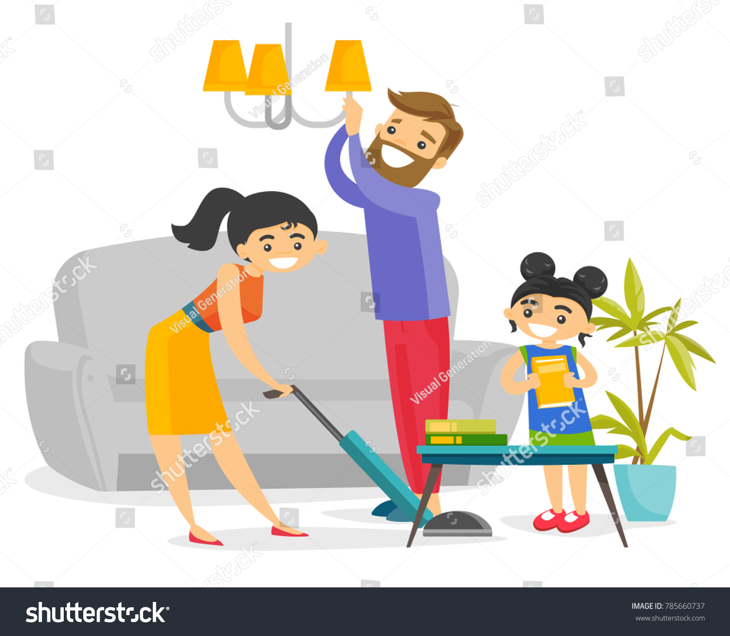 Young Caucasian White Family Having Fun While Cleaning Living Room All Together Little Daughter Helping