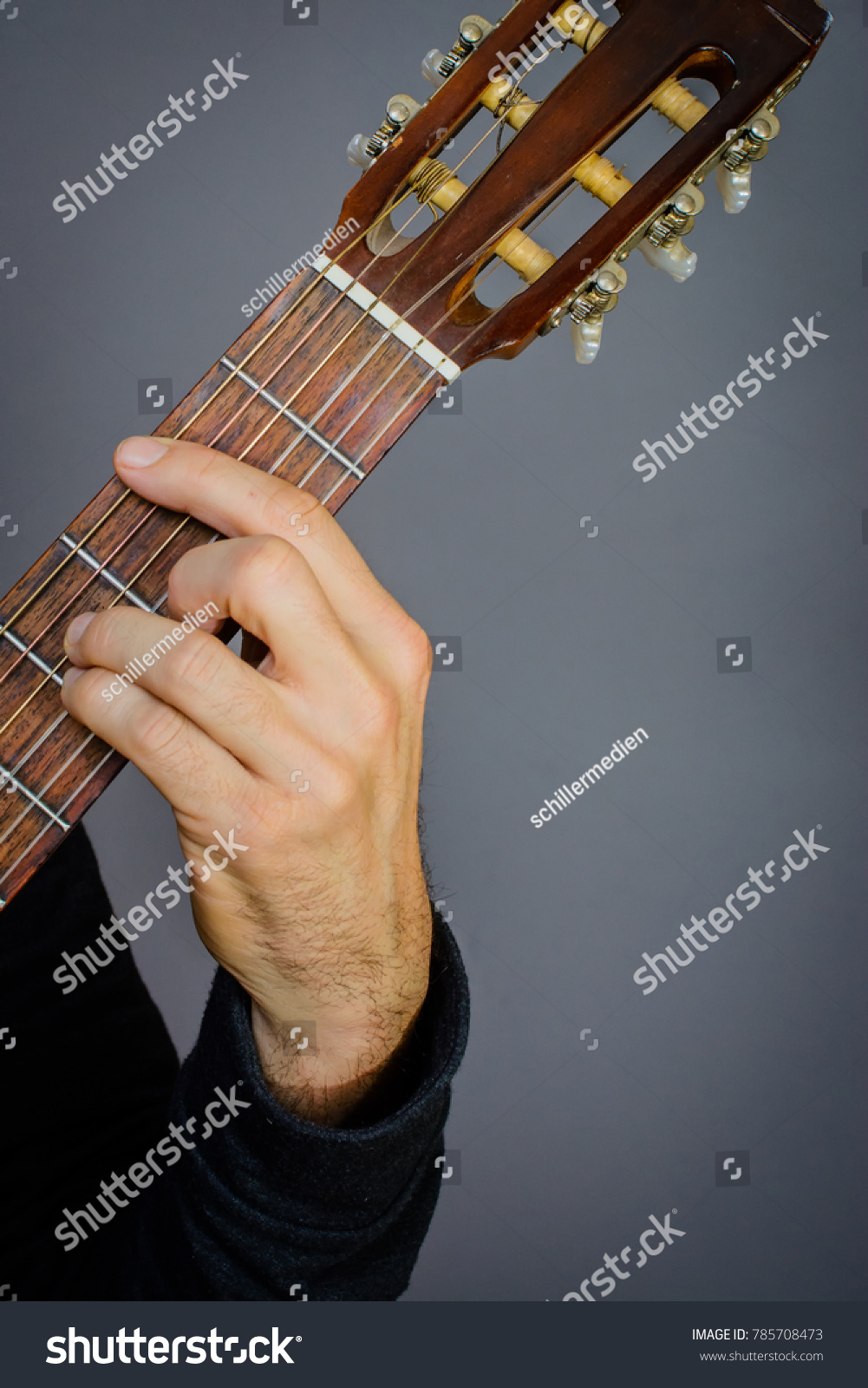 Guitarist Playing B Minor Chord On Stock Photo Edit Now 785708473