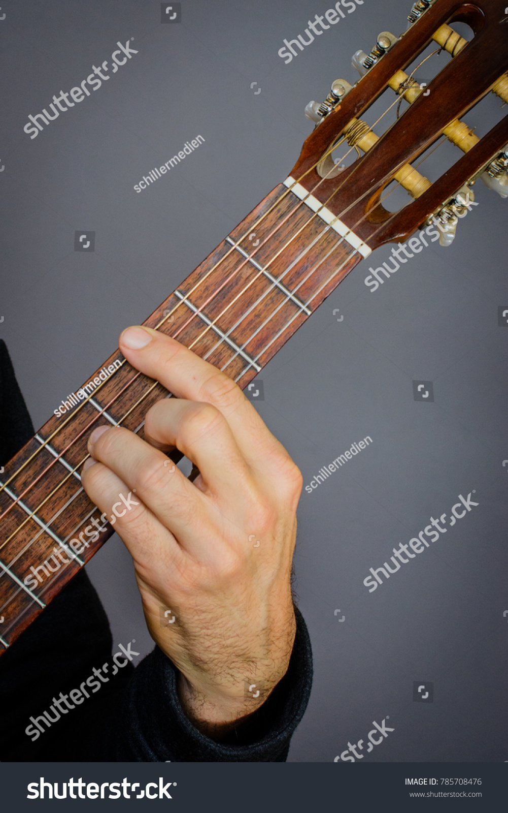 Guitarist Playing C Minor Chord On Stock Photo Edit Now 785708476