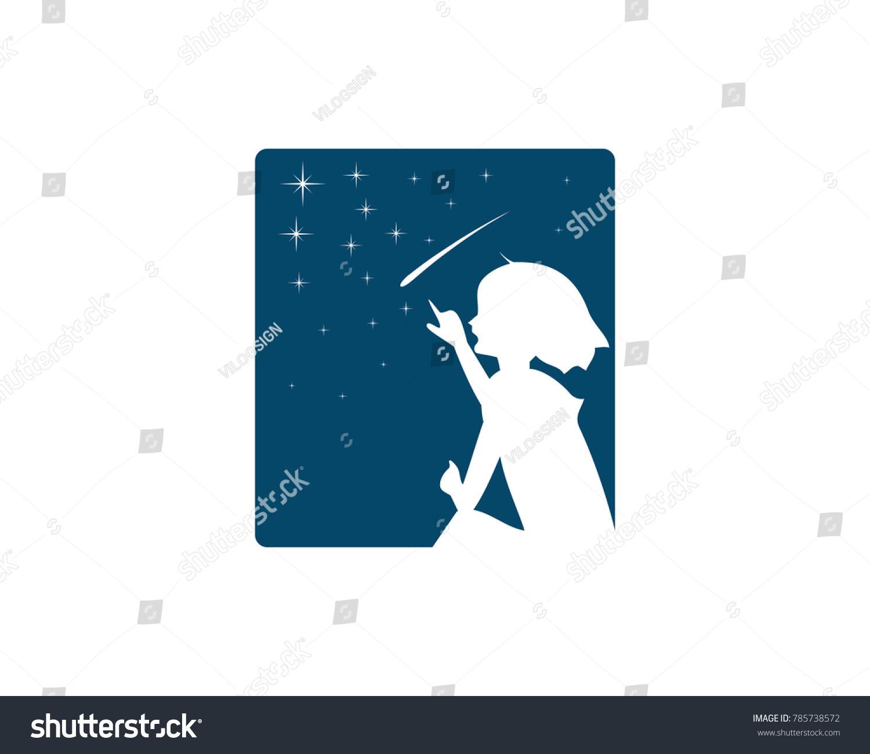 Girl Counting Stars Shooting Star On Stock Vector 785738572