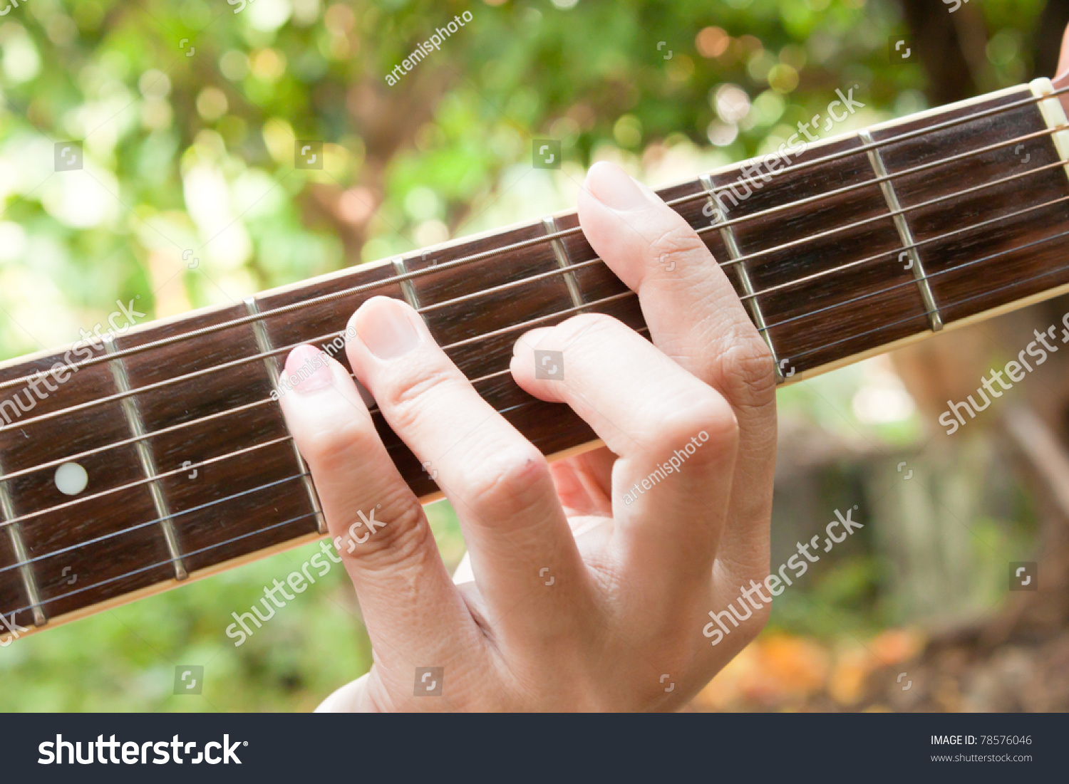Hand On Guitar Fret G Chord Stock Photo Edit Now 78576046