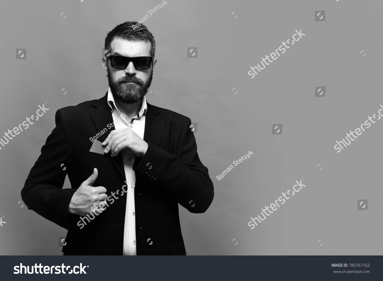 Man Beard Puts Business Card Into Stock Photo (Royalty Free ...